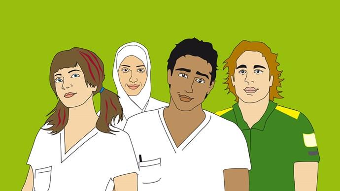 Ungdomar i arbetskläder