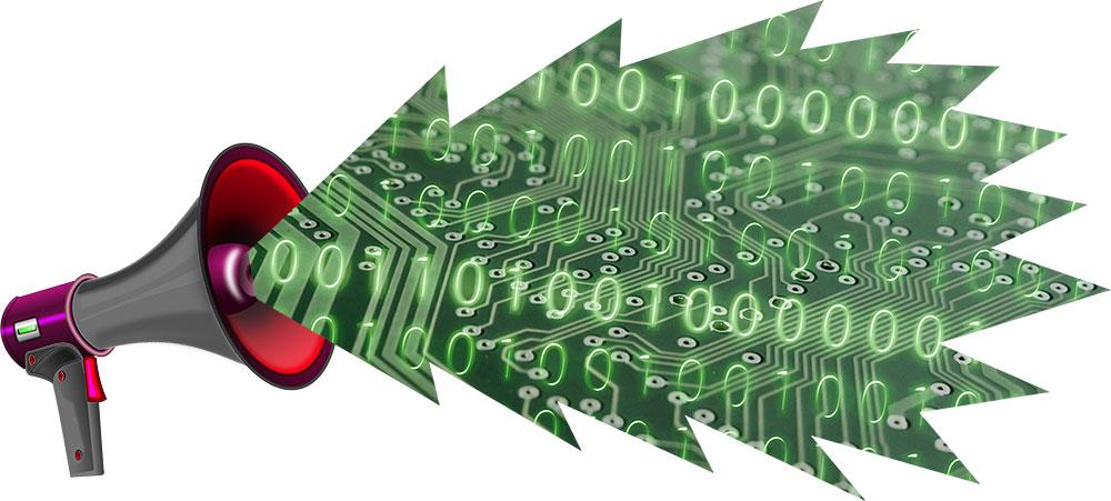 Megafon som skriker ut en talbubbla full med kretskort, ettor och nollor