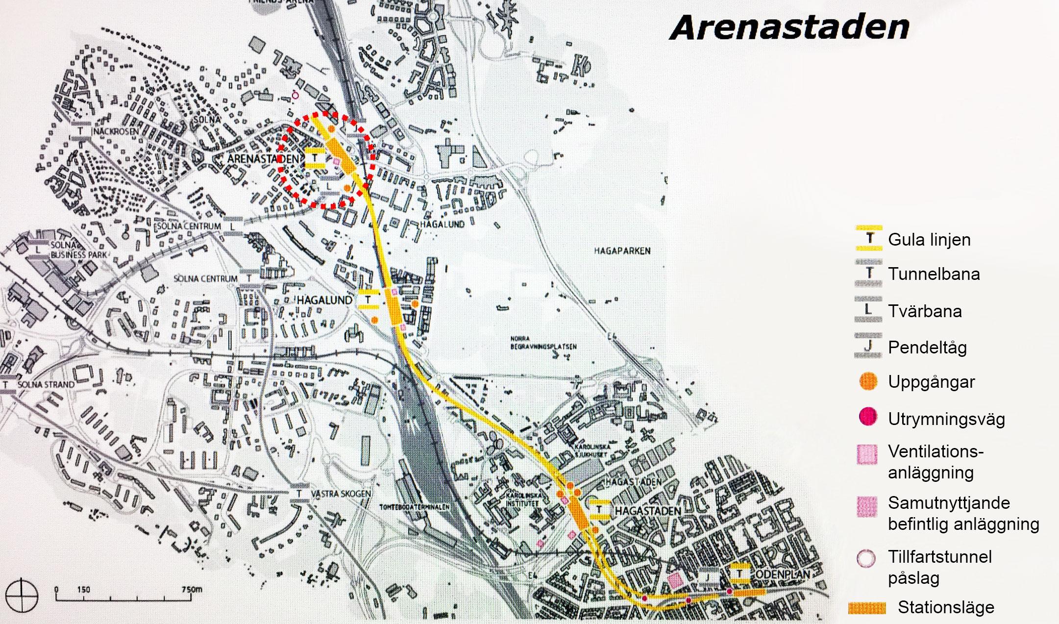 Nya Tunnelbanan Gul Linje Arenastaden Funktionsratt Stockholms Lan