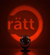 Röd spotlight lyser ordet