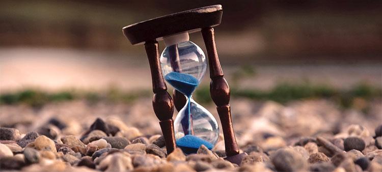 halvfullt timglas