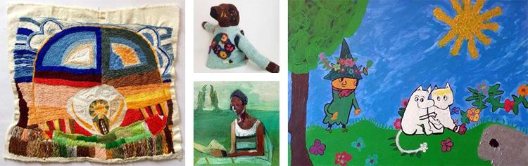 Kollage av hantverk och målningar från utställningen