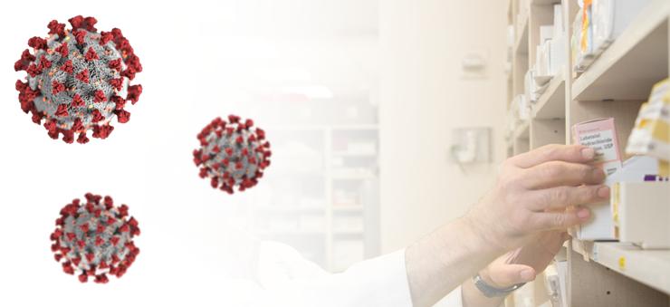 Coronaviruset och en person som tar medicin fån en apotekshylla