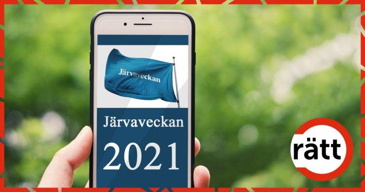 TElefon som visar Järvaveckans flagga
