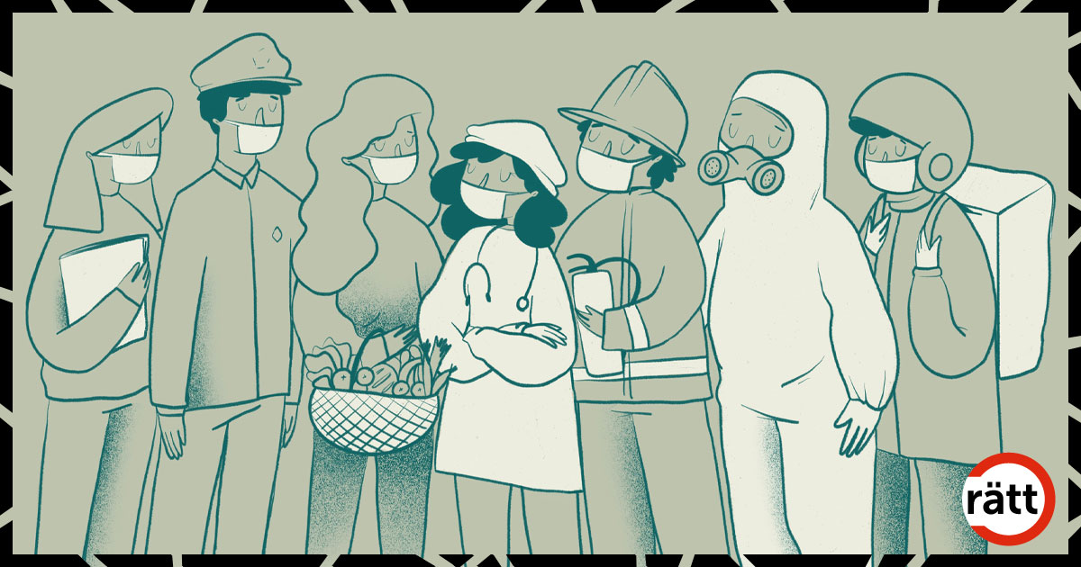 Flera personer som bär ansiktsmask