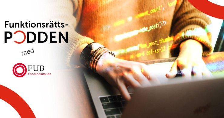 Ett par händer skriver på ett tangentbord. En kodsnutt skiner ovanpå bilden.