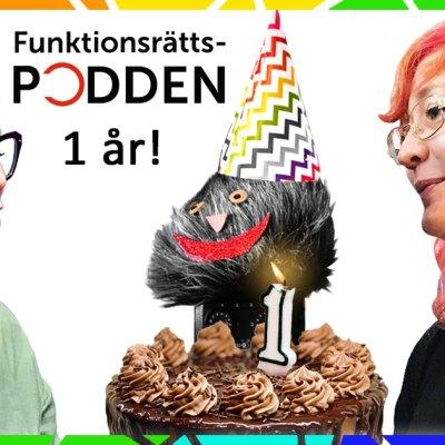 Ett kollage där Karin, Johanna och poddtrollet står runt en stor tårta med ett ljus på.