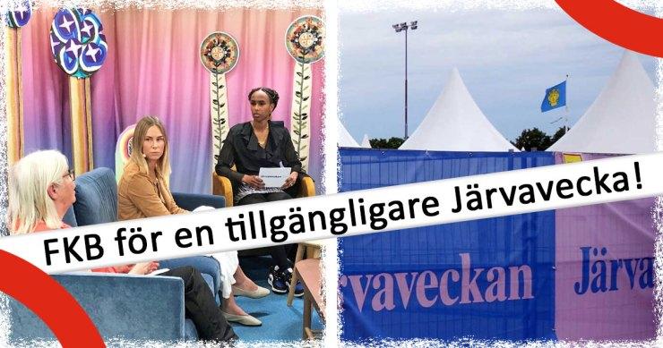 Flera tält på en tidigare, fysisk Järvavecka. Från årets digitala sändning en gruppbild med bland annat vår ordförande Anika Hässler.