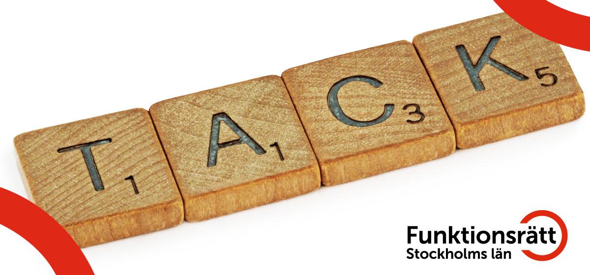 Alfapetbokstäver formar ordet tack.