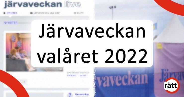 Järvaveckan valåret 2022. I bakgrunden en tätrad från när Järvaveckan hölls fysiskt, samt en skärmbild från årets digitala Järva Live.