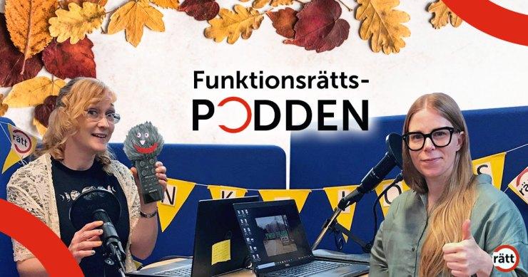 Johanna, Karin och poddtrollet i poddstudion.