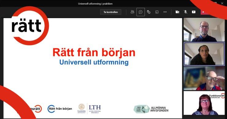 """Tre föreläsare i digitalt möte visar en presentation som heter """"Rätt från början""""."""